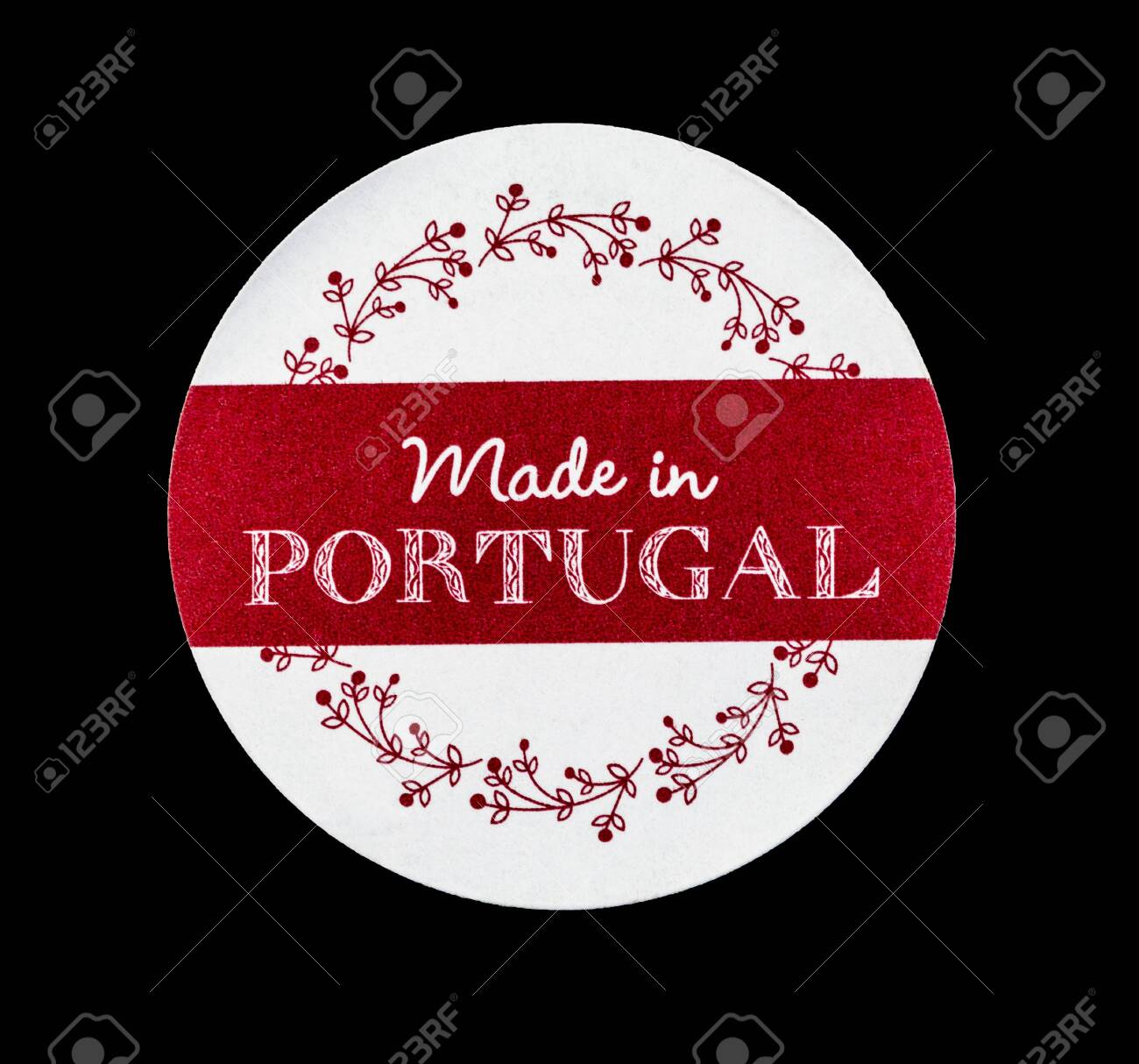 Beautiful crafted label with Made in Portugal tag identifying industrial portuguese products in overseas markets - 133838252