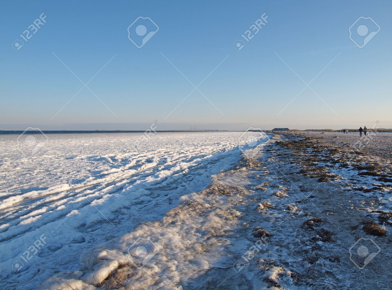 Amager Beach Park frozen shoreline of amager beach in copenhagen denmark