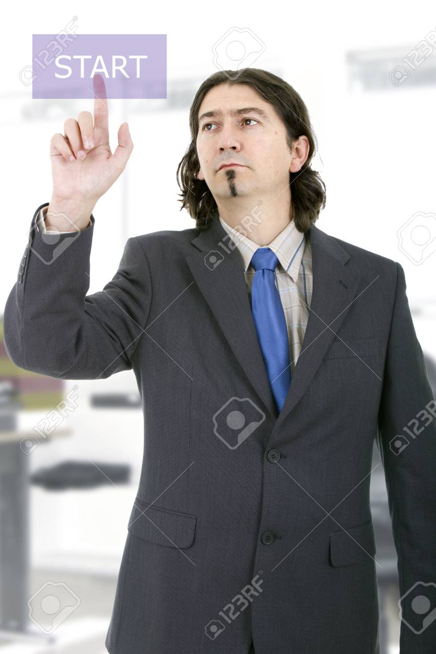 Business man working with virtual digital interface or environment Stock Photo - 17084781
