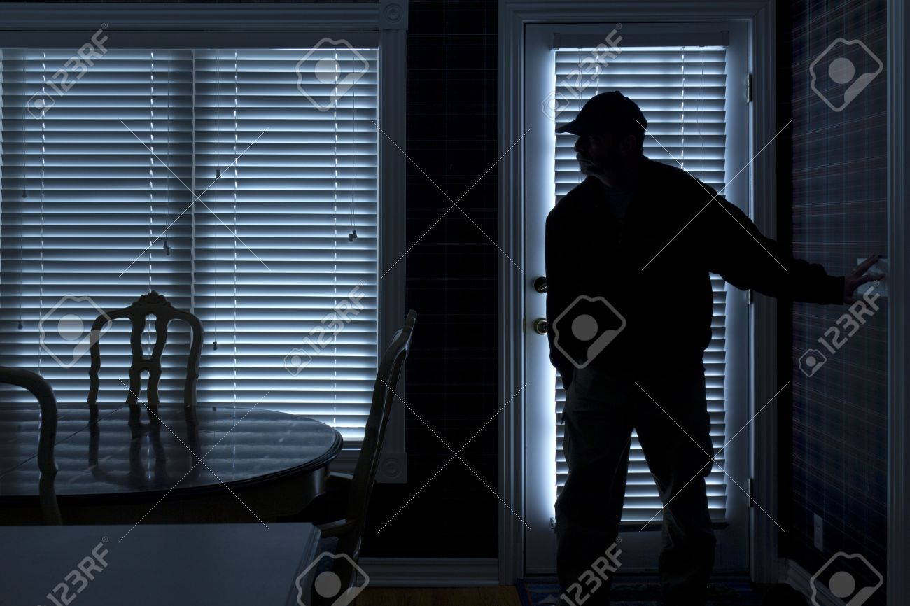 Inside house windows at night - House Burglary This Photo Illustrates A Burglary Or Thief Breaking Into A Home At Night