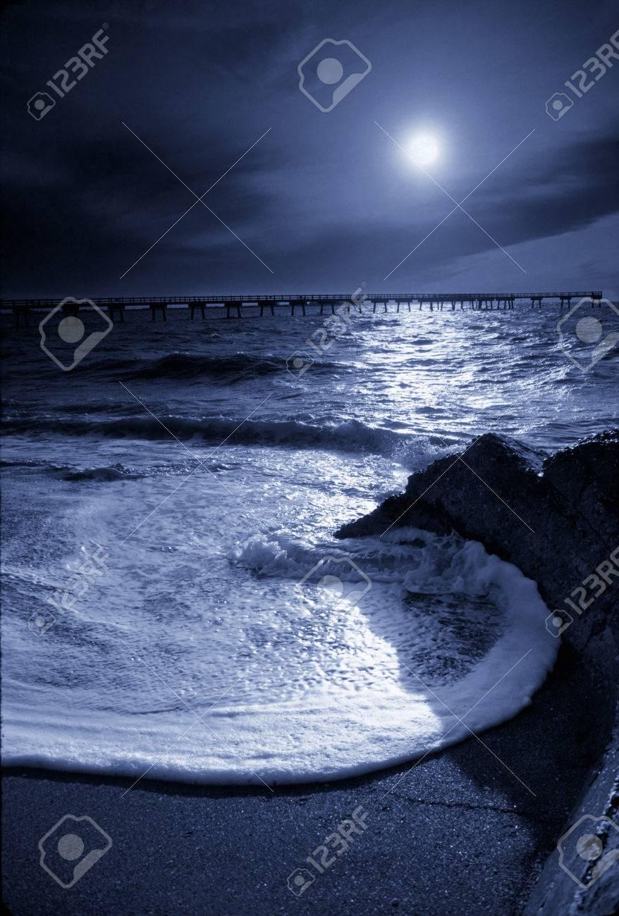 Schöne Nacht Zeit Foto Illustration Einer Mondbeschienenen