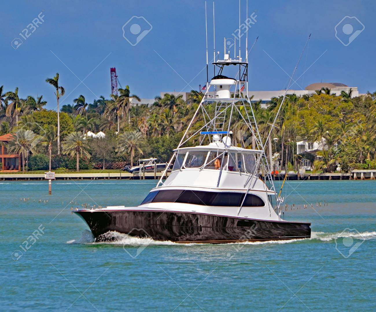 Black And White Sport Fishing Boat On The Florida Intra Coastal