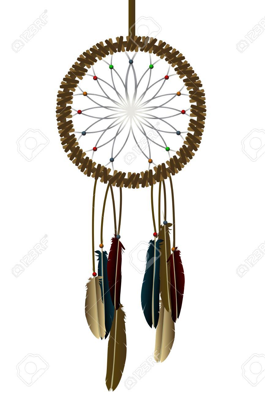 Native american dream-catcher over white Stock Vector - 10732655