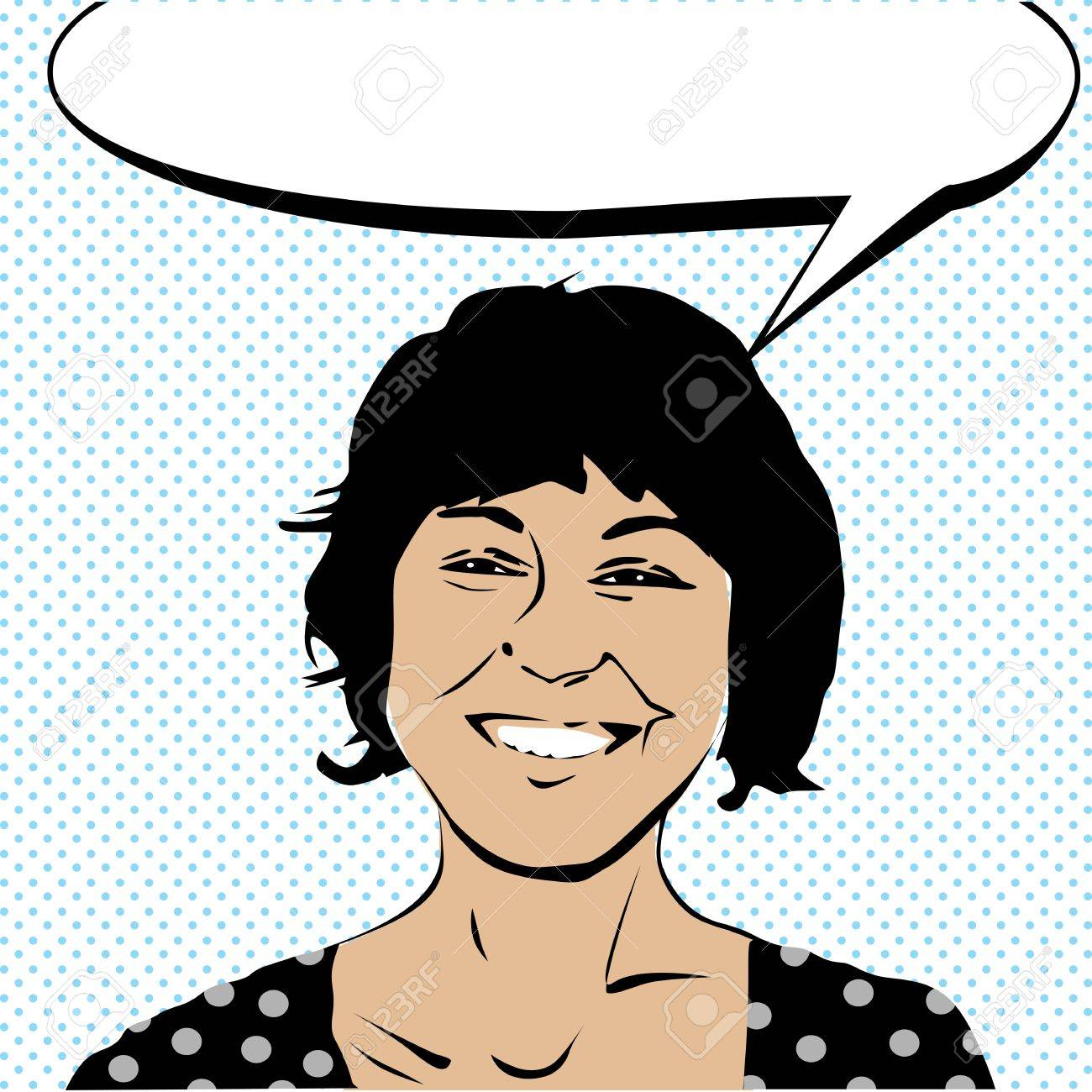 Pop art drawing of a girl laughing and a speech bubble Stock Vector - 10732340