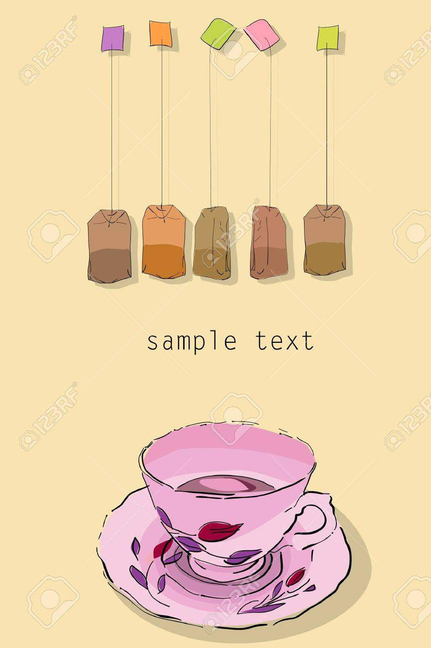 Elegant tea party invitation template with teacups cartoon vector - Tea Party Invitation Card With Room For Text No Mesh Or Gradient Used Easy