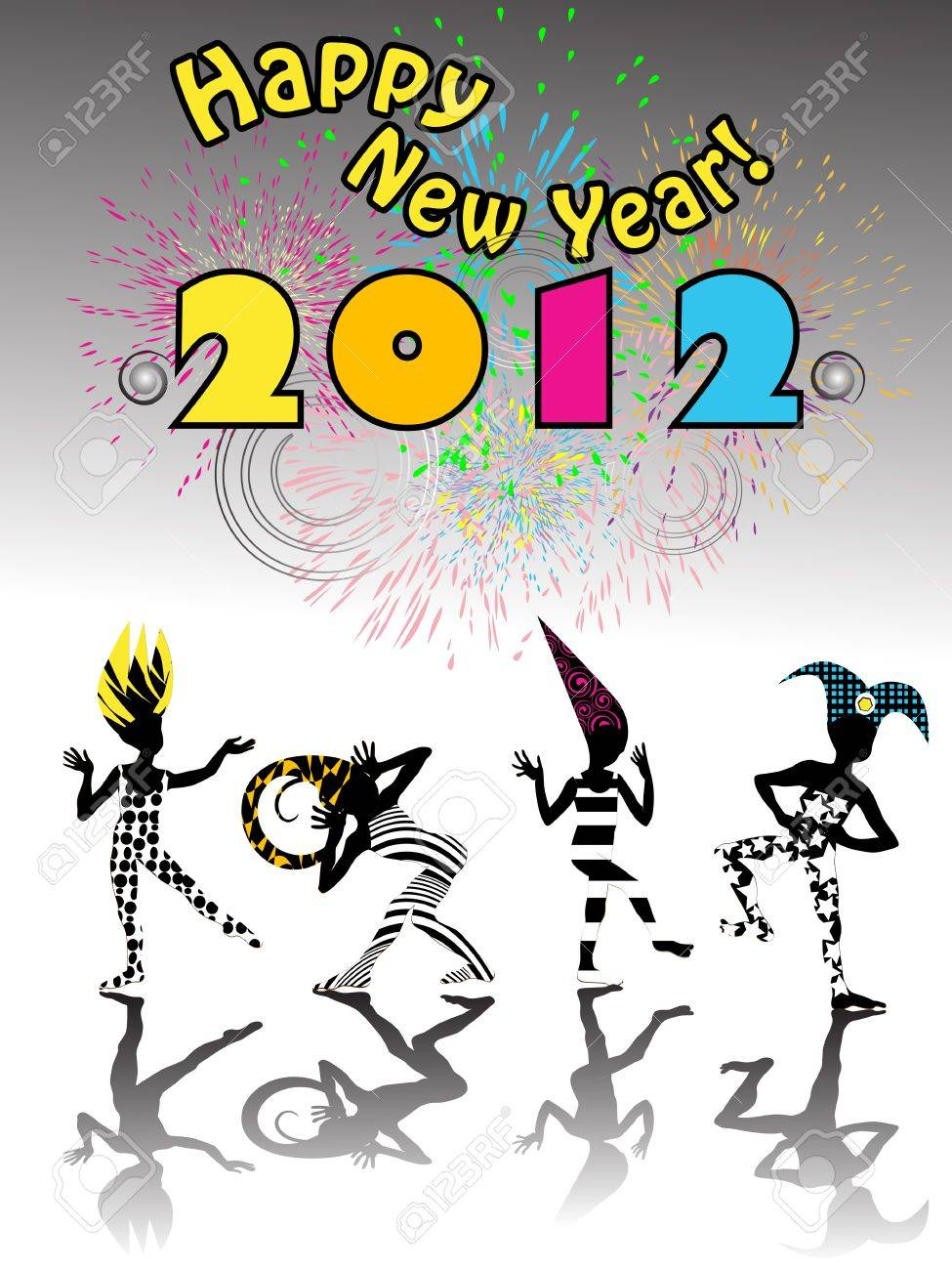 2012 new years eve carnival happy silhouettes under clolorful fireworks Stock Vector - 11053909
