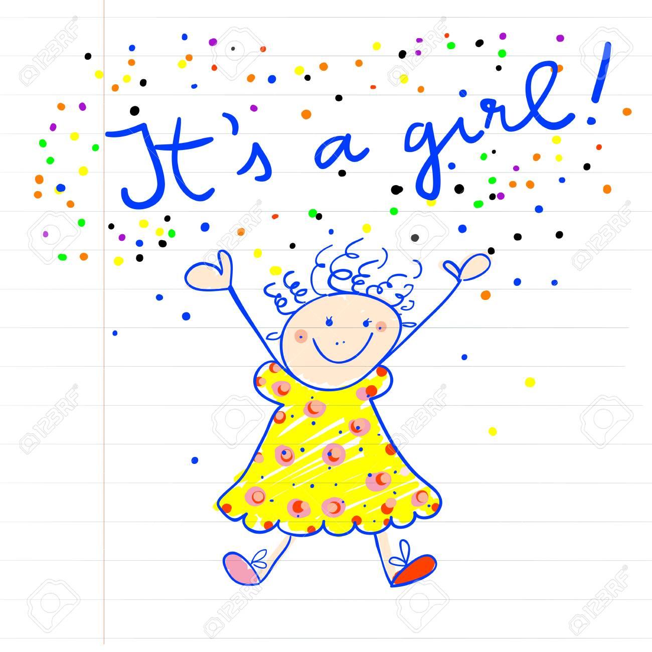 L Arrivée De Bébé De Dessin Enfantin Marqueur D Une Petite Fille Sur Un Morceau De Papier C Est Une Fille