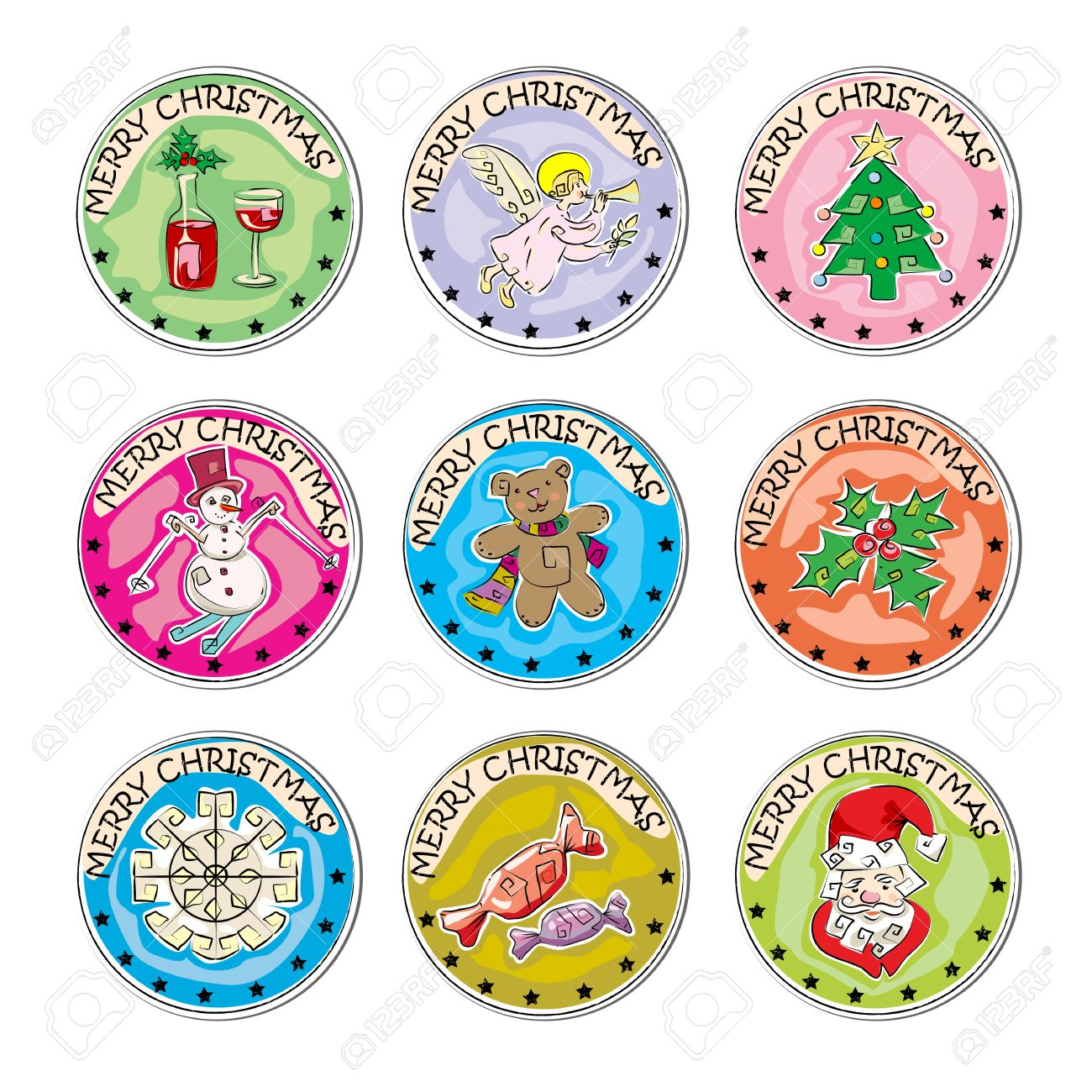 Merry Christmas Set Of Colored Clip Art Stamp Coins, Stickers ...