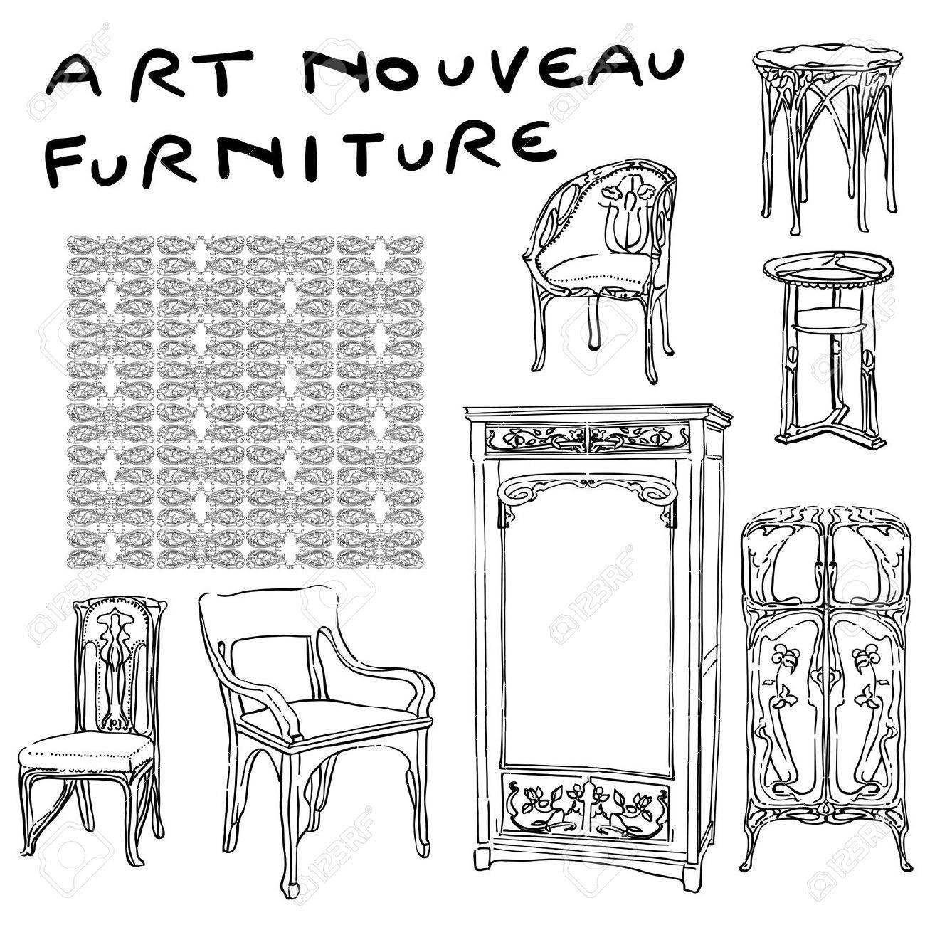 Authentischen Jugendstil Möbel Kritzeleien Und Jugendstil Motiv
