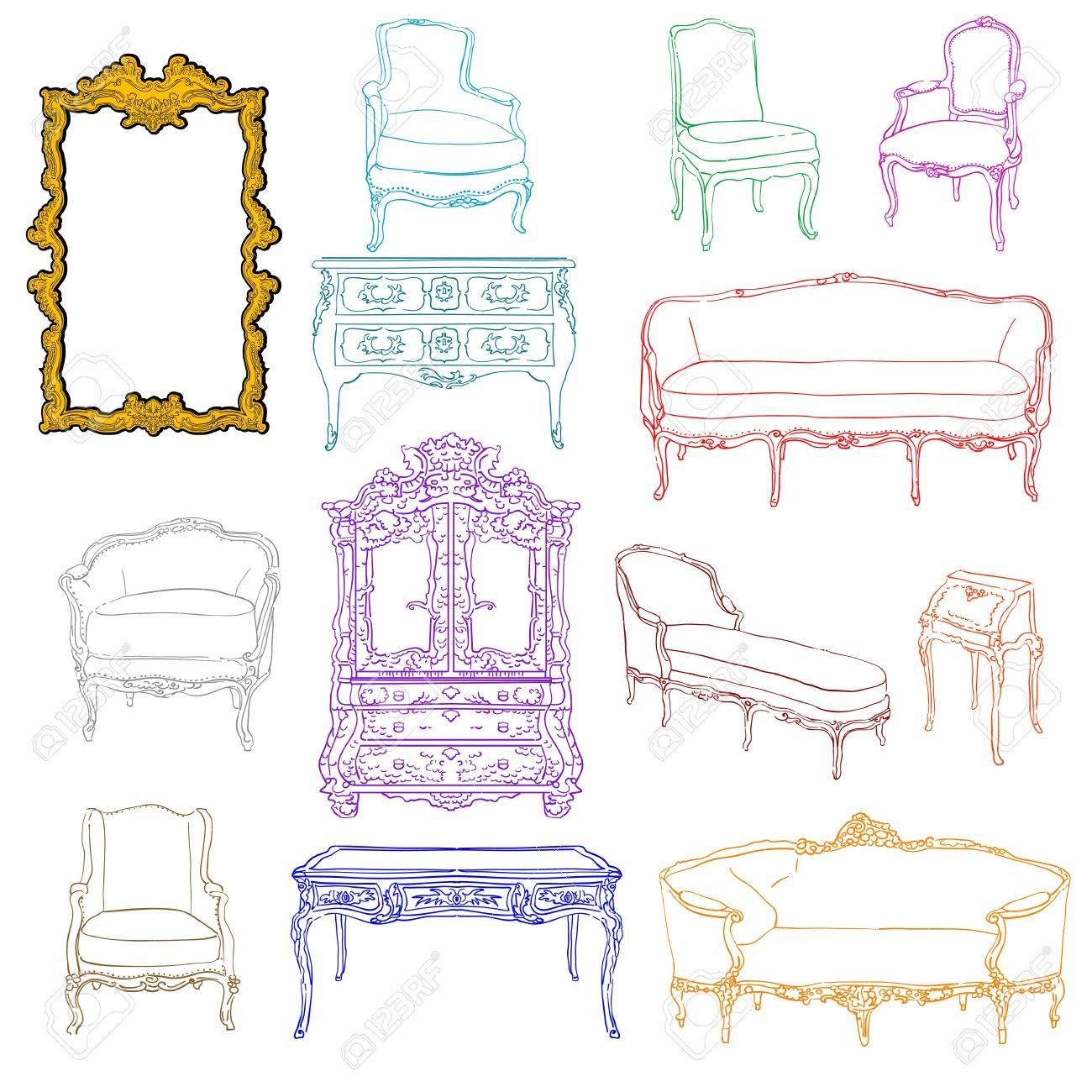 authentic rococo furniture colored doodles and mirror isolated on white Stock Vector - 11479139