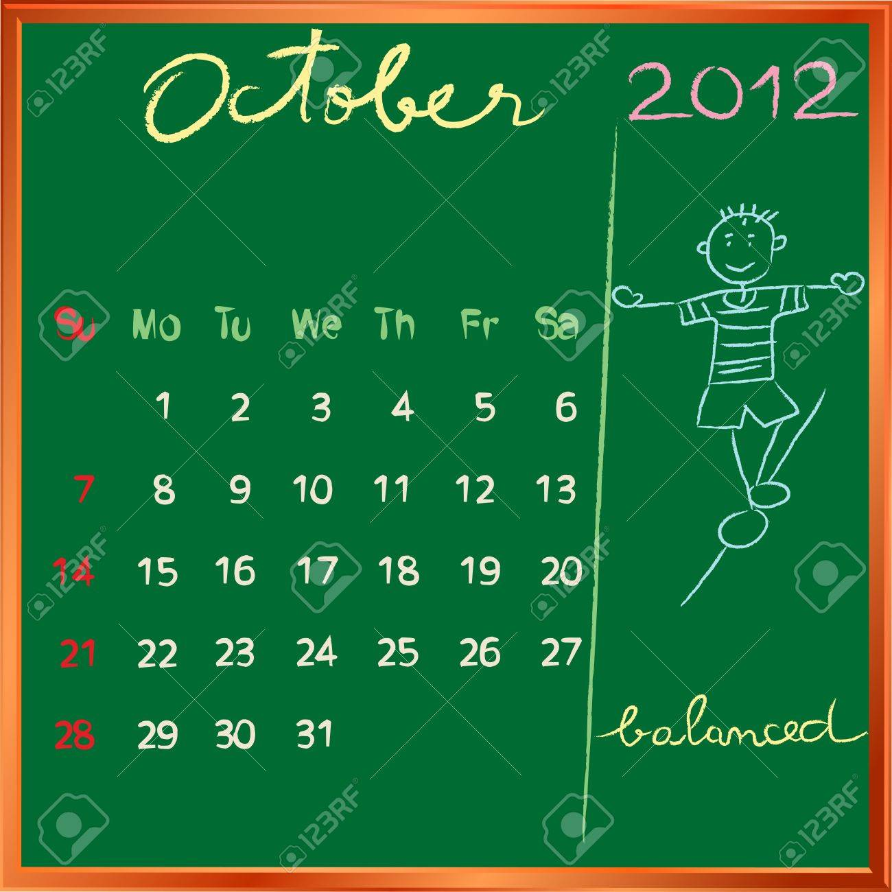 2012 calendar on a blackboard, october design with the happy balanced student profile for international schools Stock Vector - 11479200