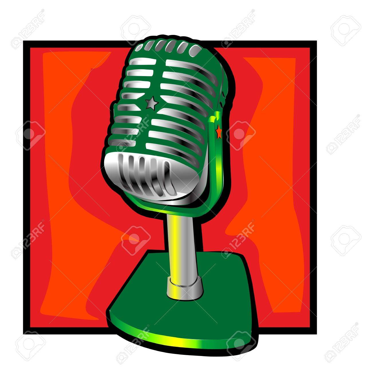 Retro Microphone Clip Art With A Decorative Star Royalty Free ...