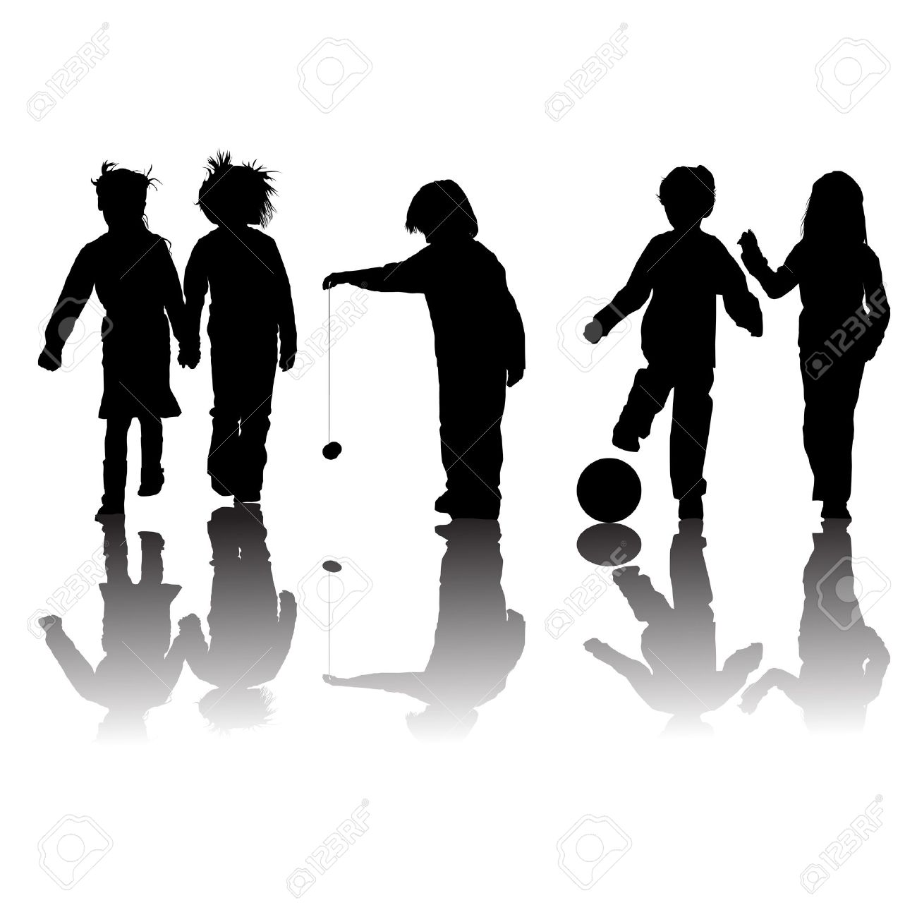 school kids friends silhouettes, girls and boys over white Stock Vector - 12061865