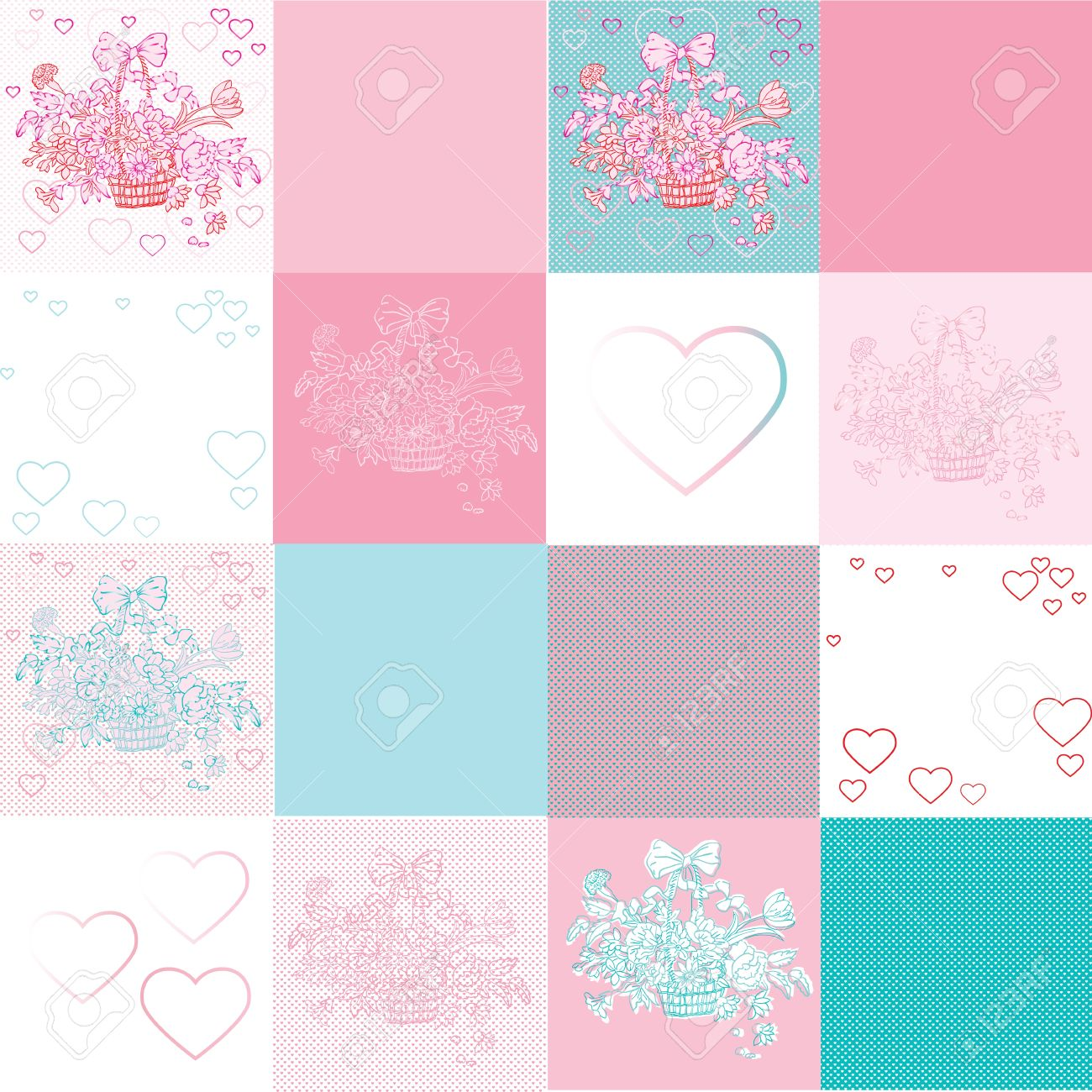 valentine's day shabby chic pattern with twelve different tiles, hearts and flowers basket Stock Vector - 12071329