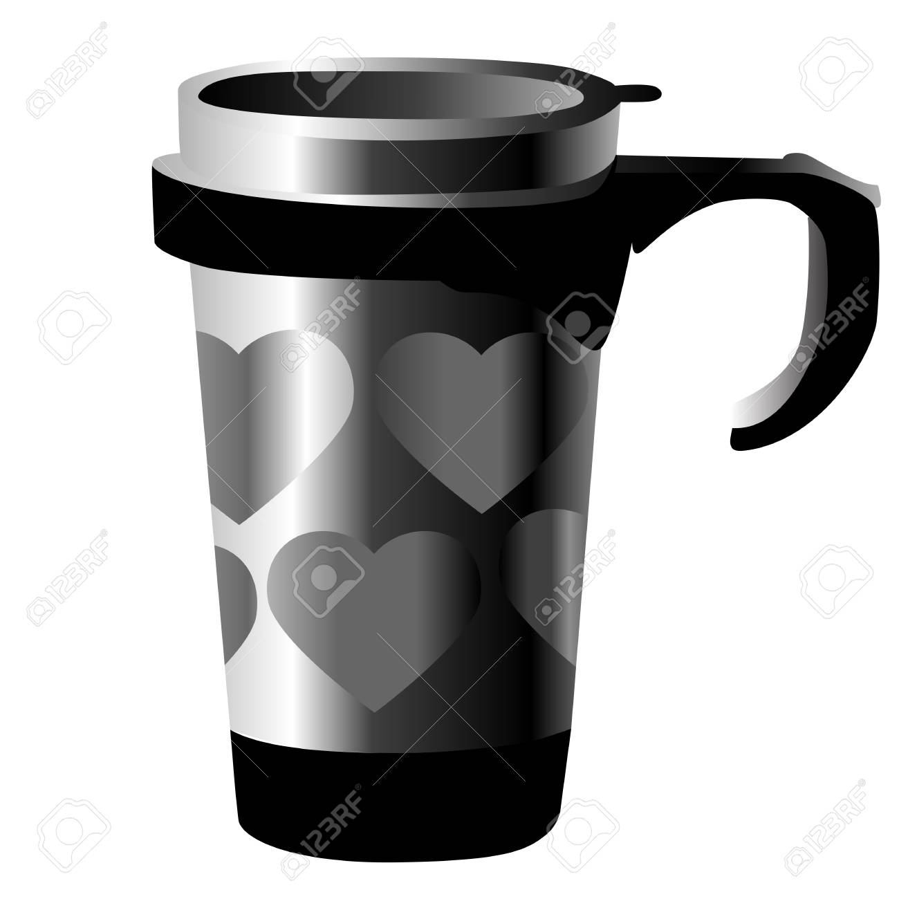 silver metal cup with hearts isolated on white Stock Vector - 12303934