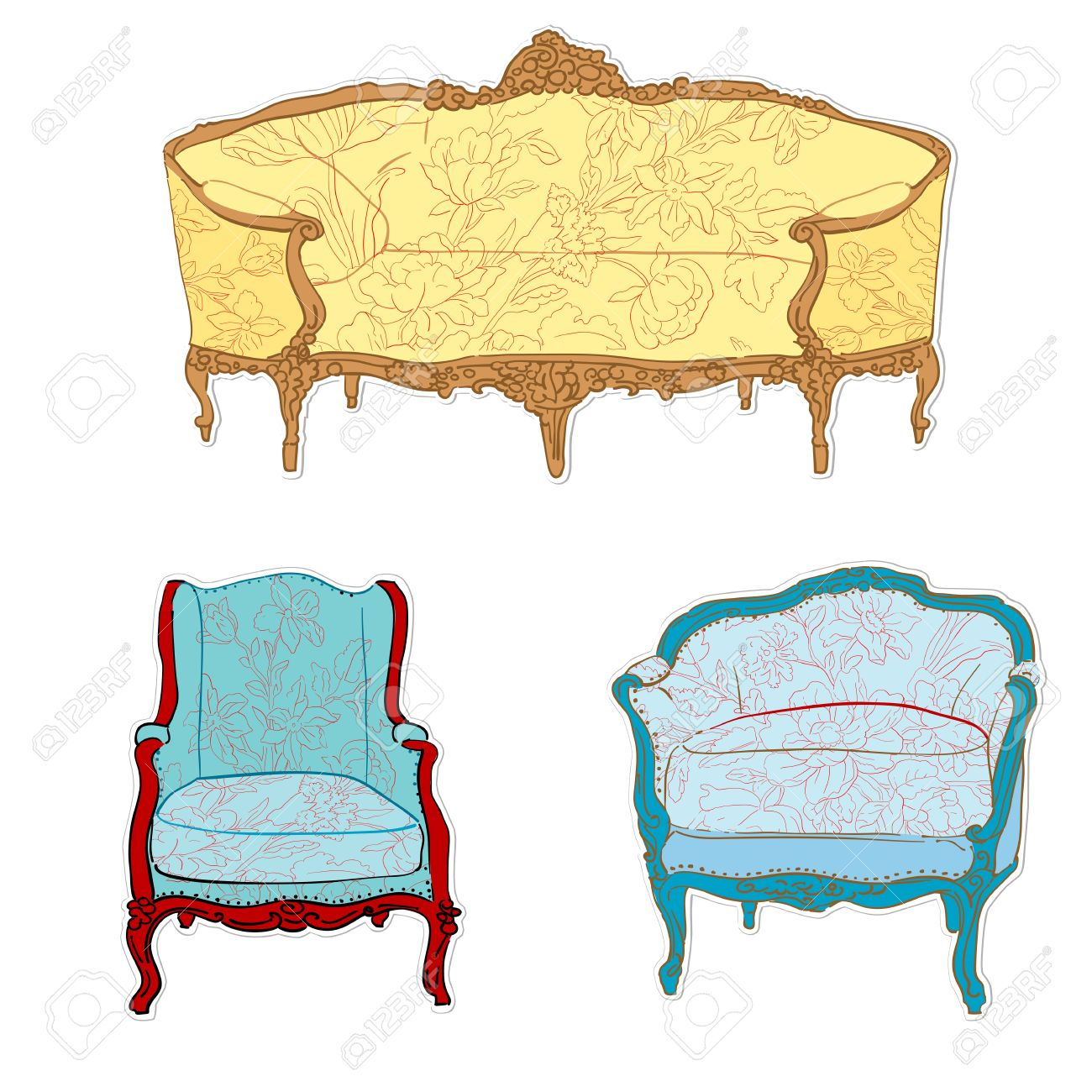 antique rococo sofa, chair and armchair with floral tapestry stickers isolated on white Stock Vector - 12488843