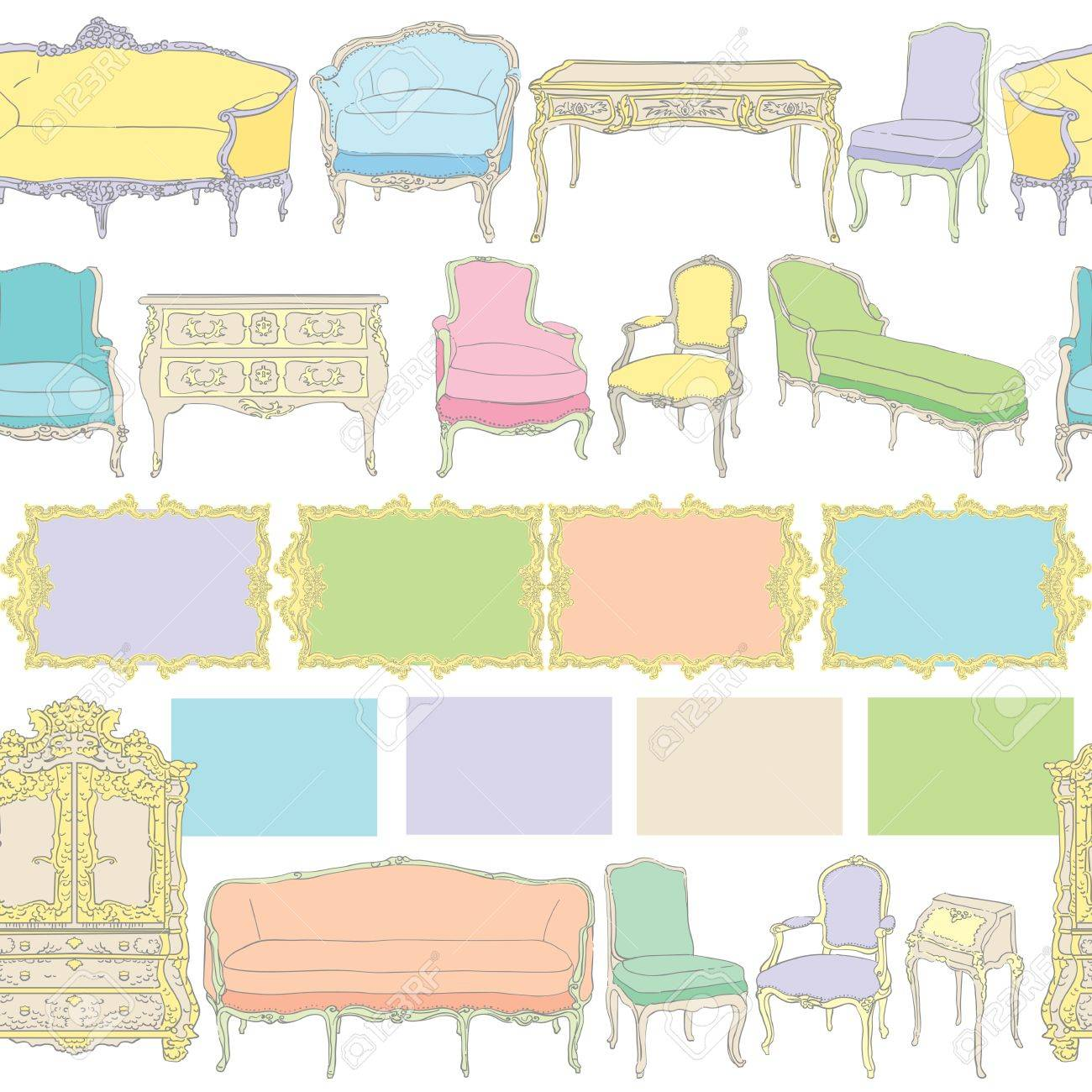 Rococo furniture sketch - Vector Rococo Furniture Pattern Colored Doodles On White