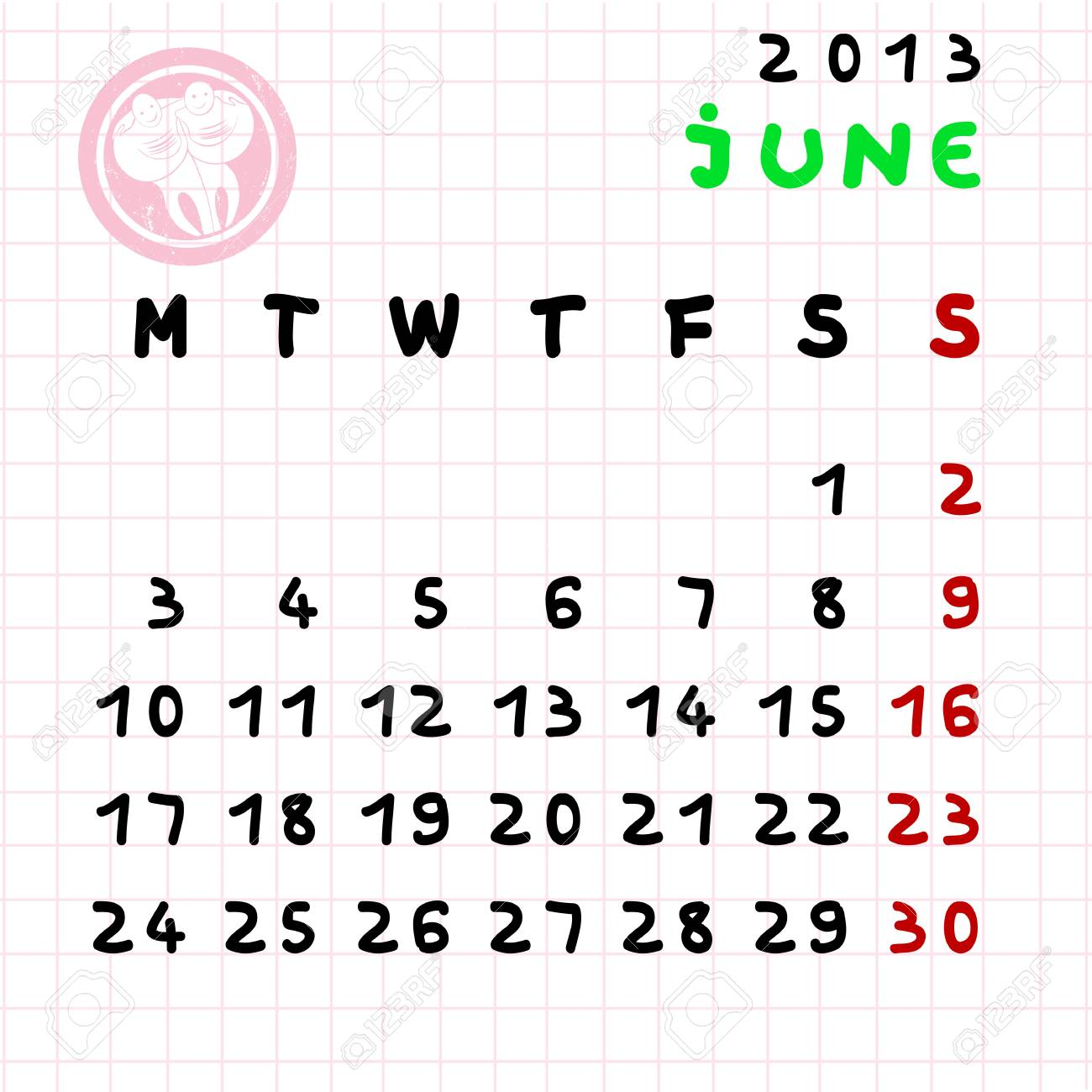 2013 Monthly Calendar June With Gemini Zodiac Sign Stamp Royalty