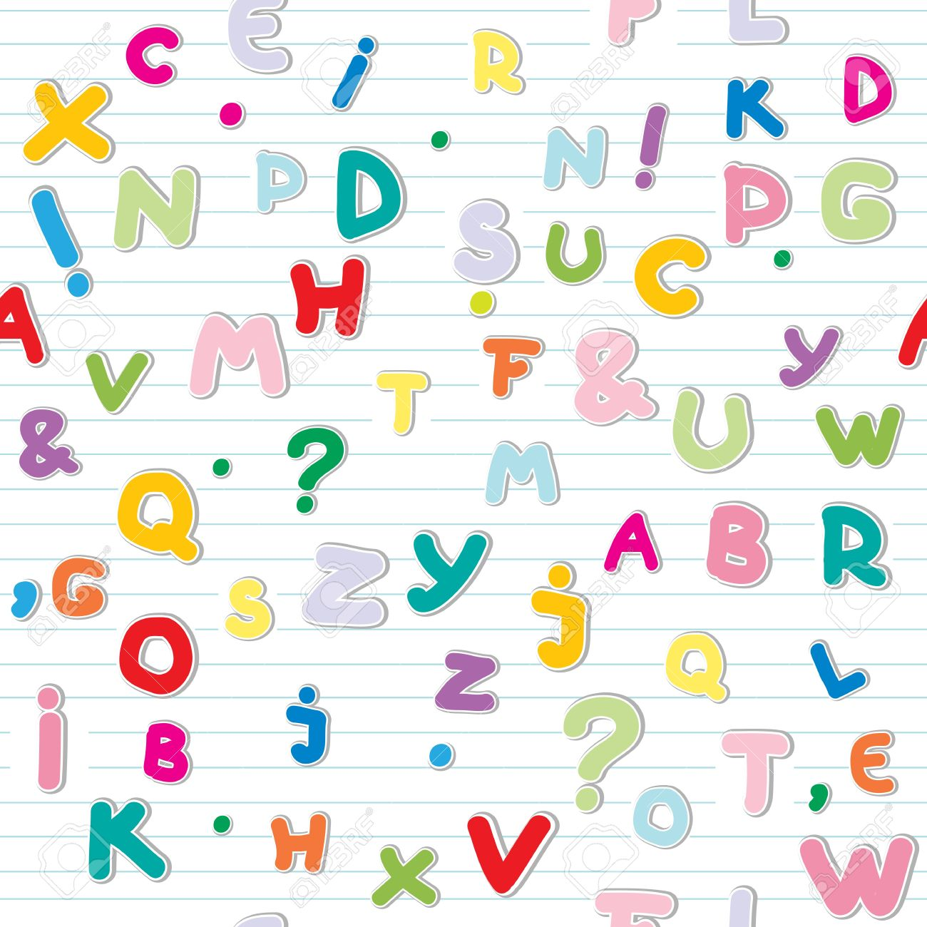 funny letters stickers pattern over a lined paper Stock Vector - 13624060