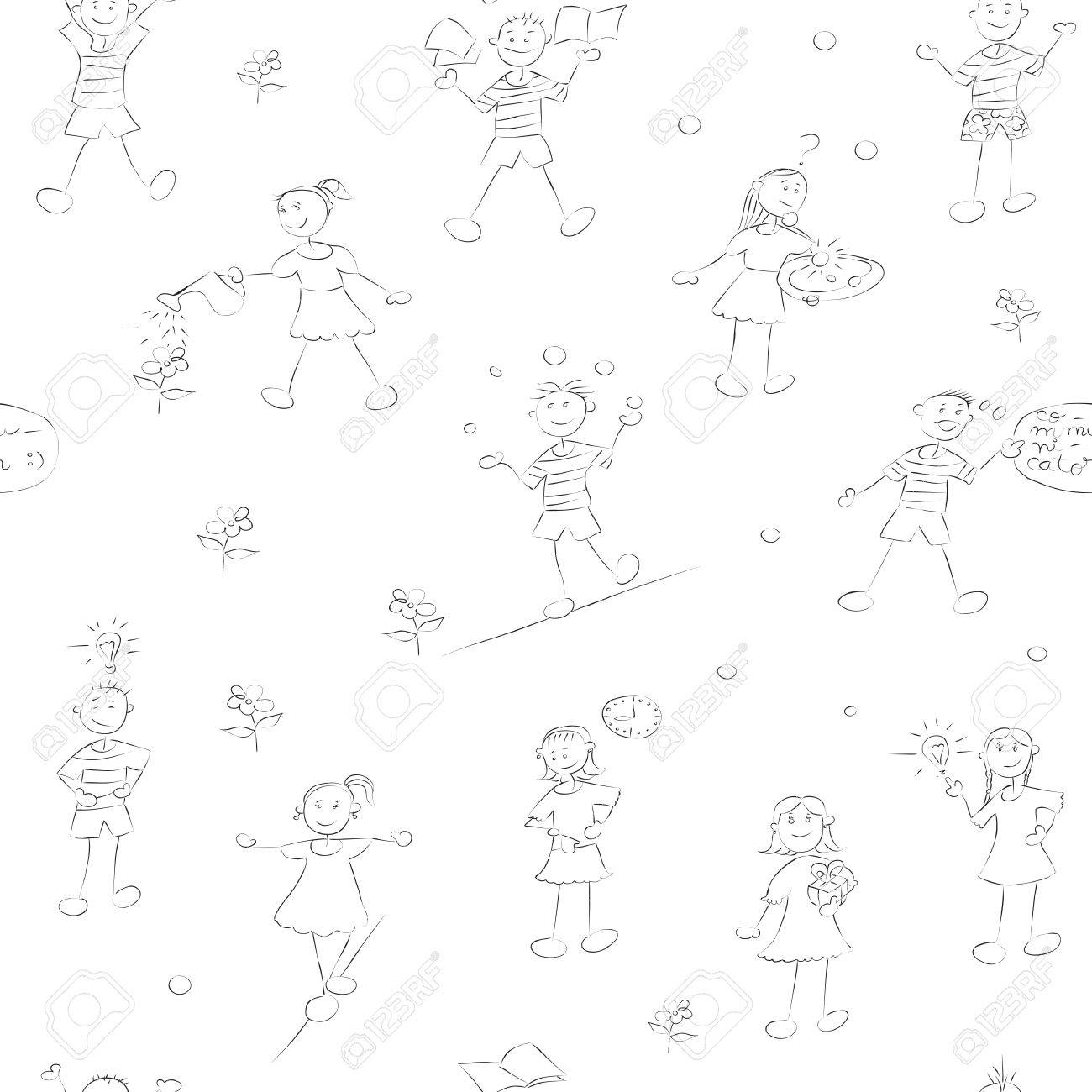 hand drawn school kids pattern with boys and girls doodles over white Stock Vector - 13624100