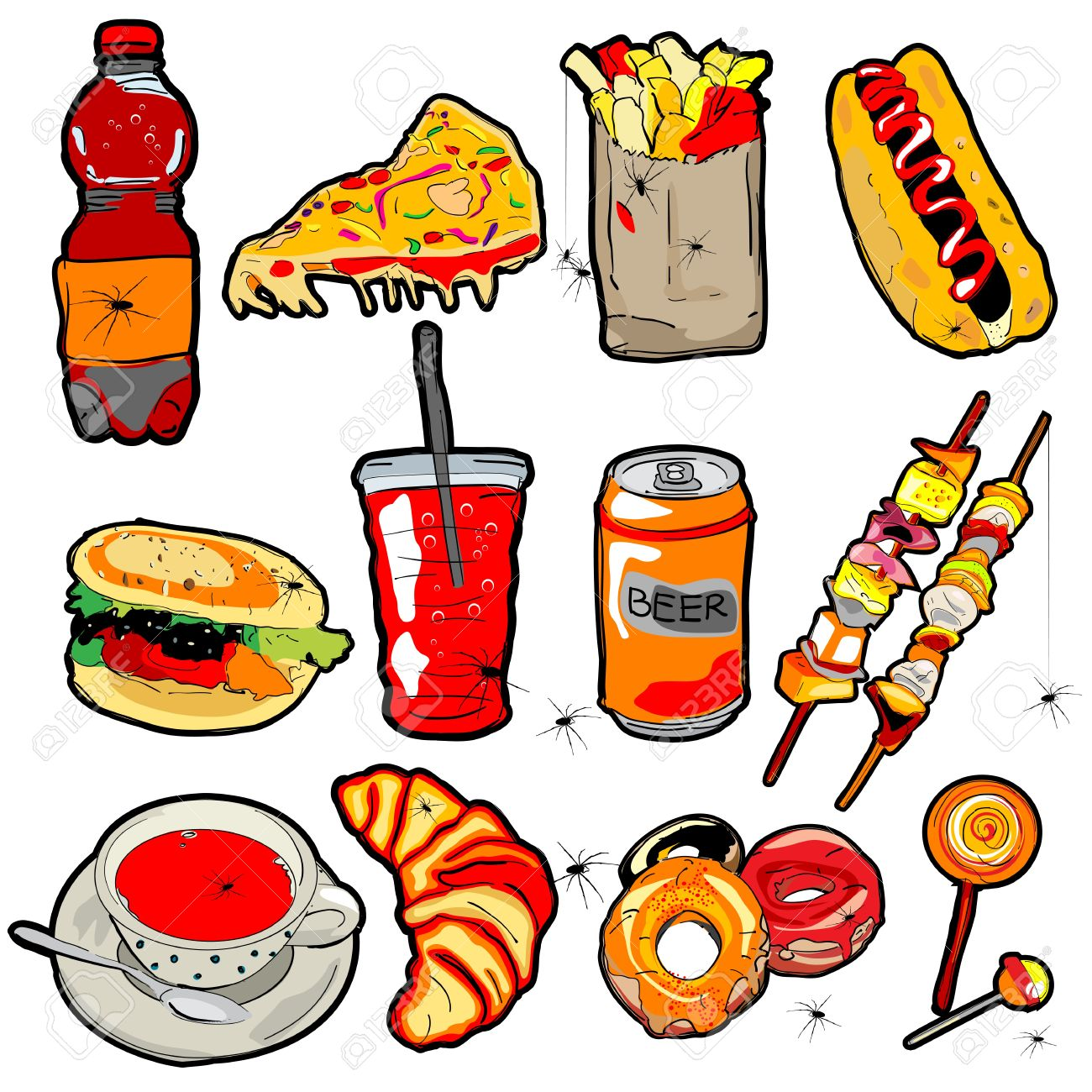 Halloween decoration clipart - Hand Drawn Scary Fast Food Elements For Halloween Decoration Stock Vector 16303800