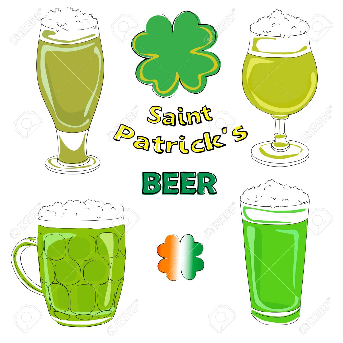 Hand drawn illustration of four Saint Patrick beer pints Stock Vector - 16855093