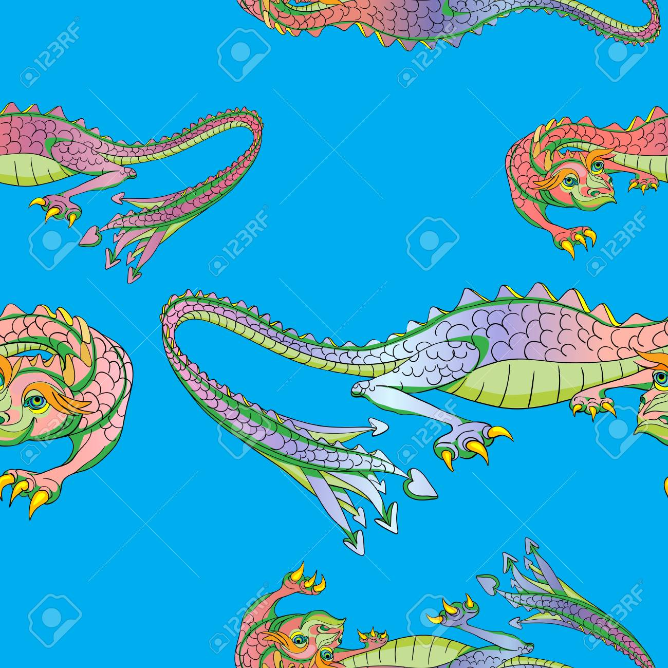 Hand drawn pattern with Chinese dragons over the representation of a silk background Stock Vector - 17553200