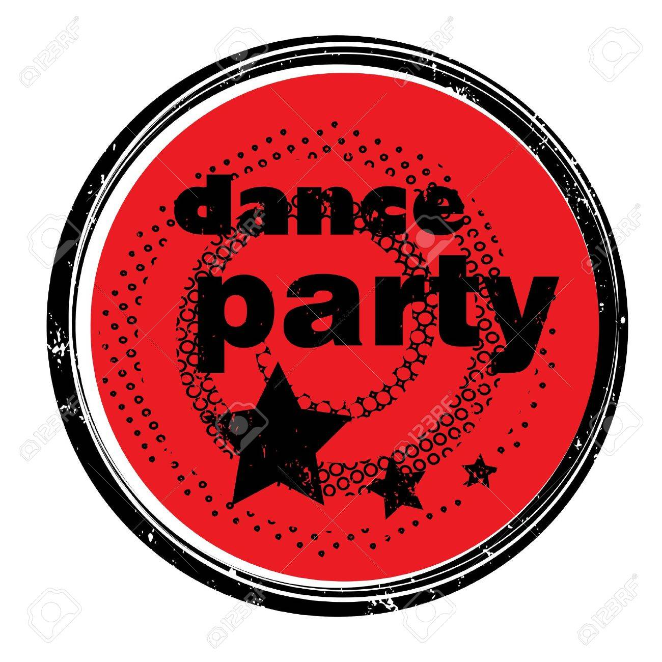 Retro Music Stamp For A Night Club Or Bar Dance Party Seal With
