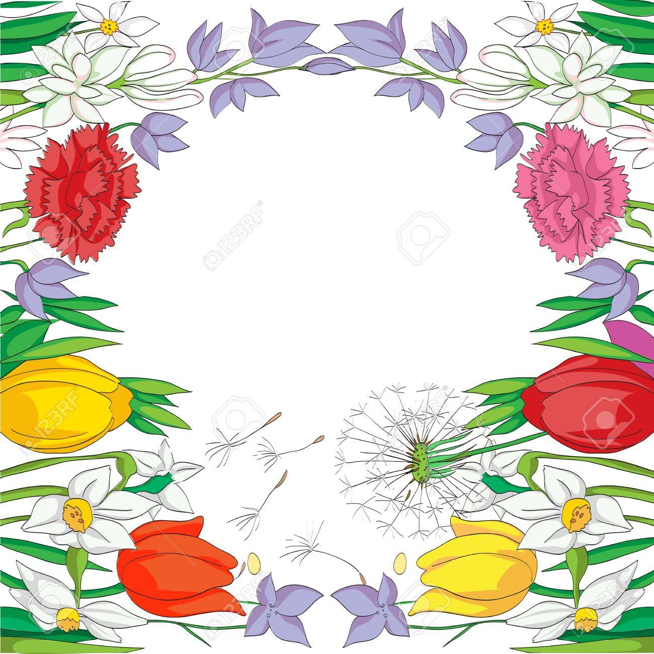 illustration of a spring card with a frame made of flowers, drawing  over a white background Stock Vector - 18848989