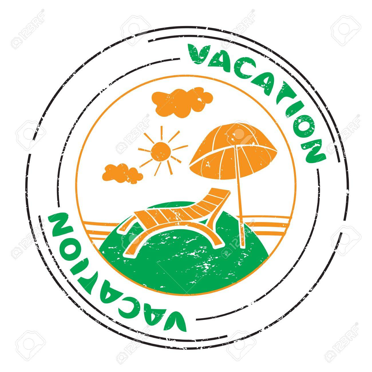 Summer vacation stamp with sunbed and umbrella at the seaside isolated on white Stock Vector - 20237567