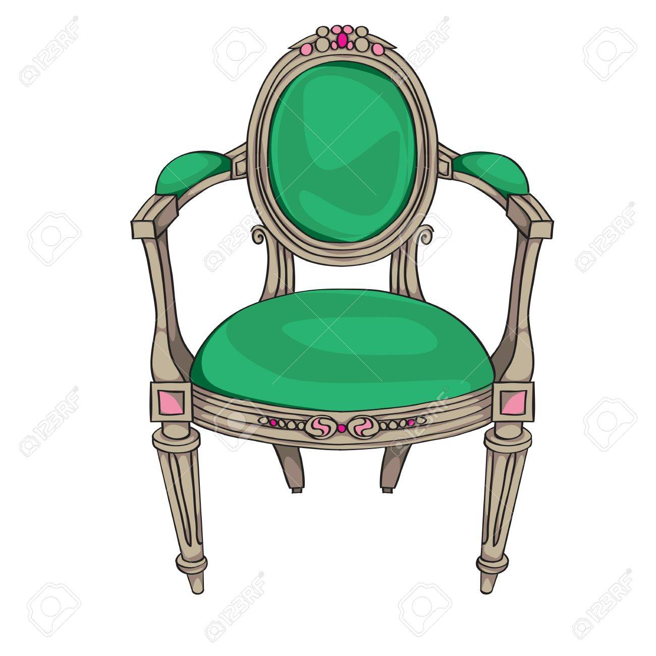 Antique furniture chair - Classic Chair Colored Doodle Hand Drawn Illustration Of An Antique Furniture Piece With Green Upholstery