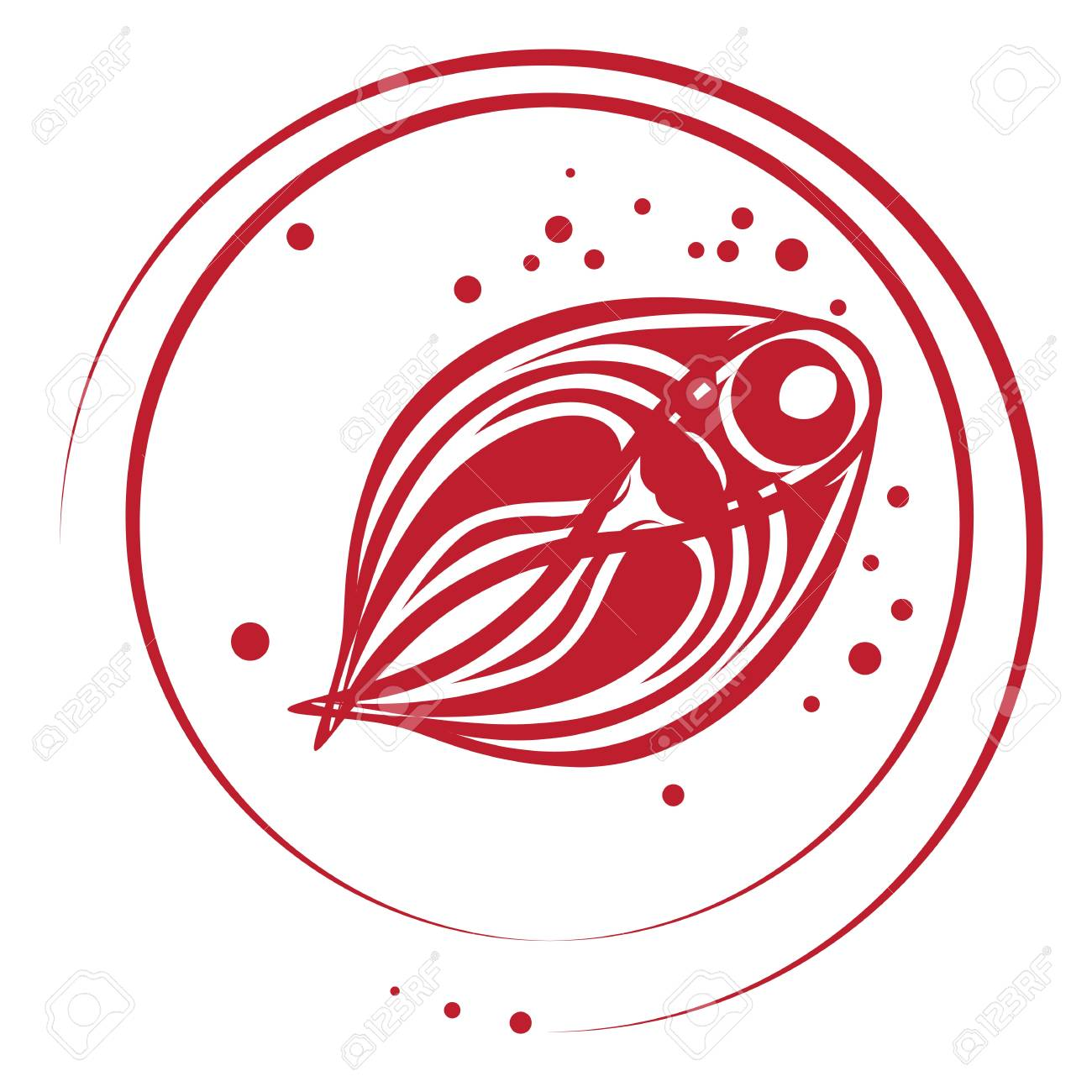 Fish stamp with bubbles, beautiful round top view composition  isolated on white Stock Vector - 20673533