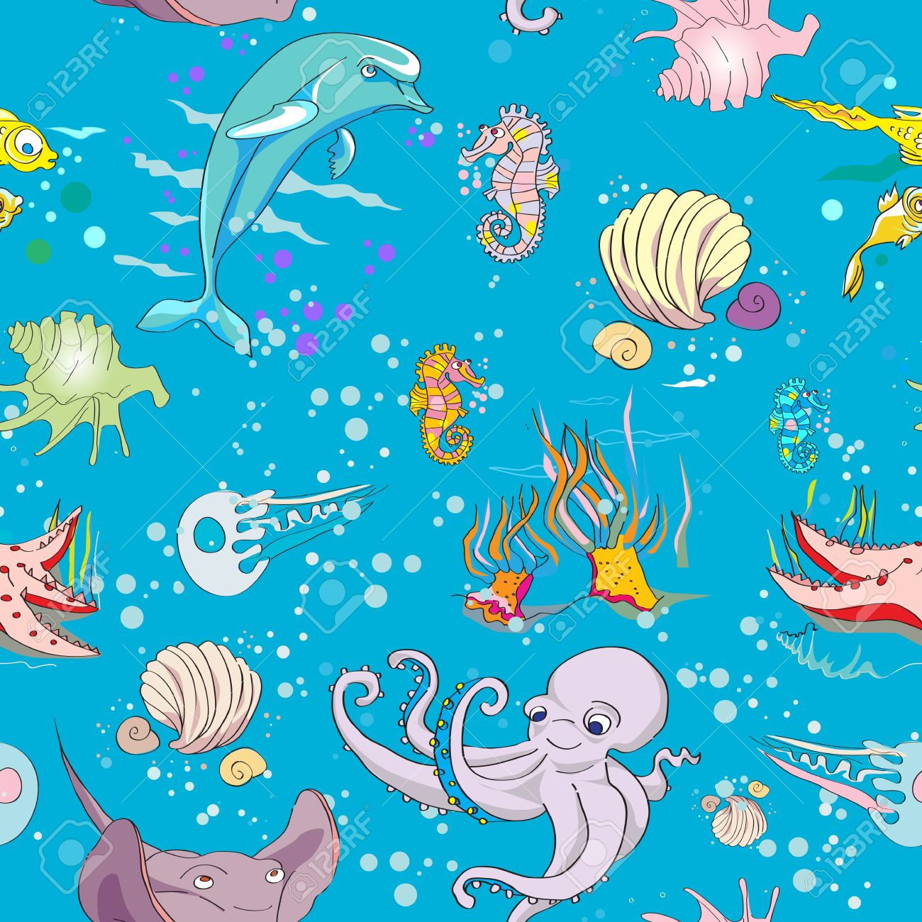 underwater life seamless pattern with fishes and sea animals