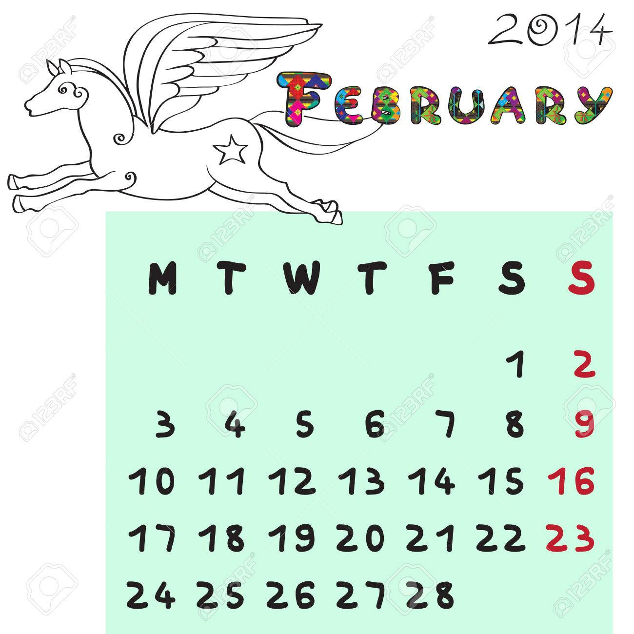 Calendar 2014 year of the horse, graphic illustration of February monthly calendar with toy doodle and original hand drawn text, colored book format for kids Stock Vector - 24079103