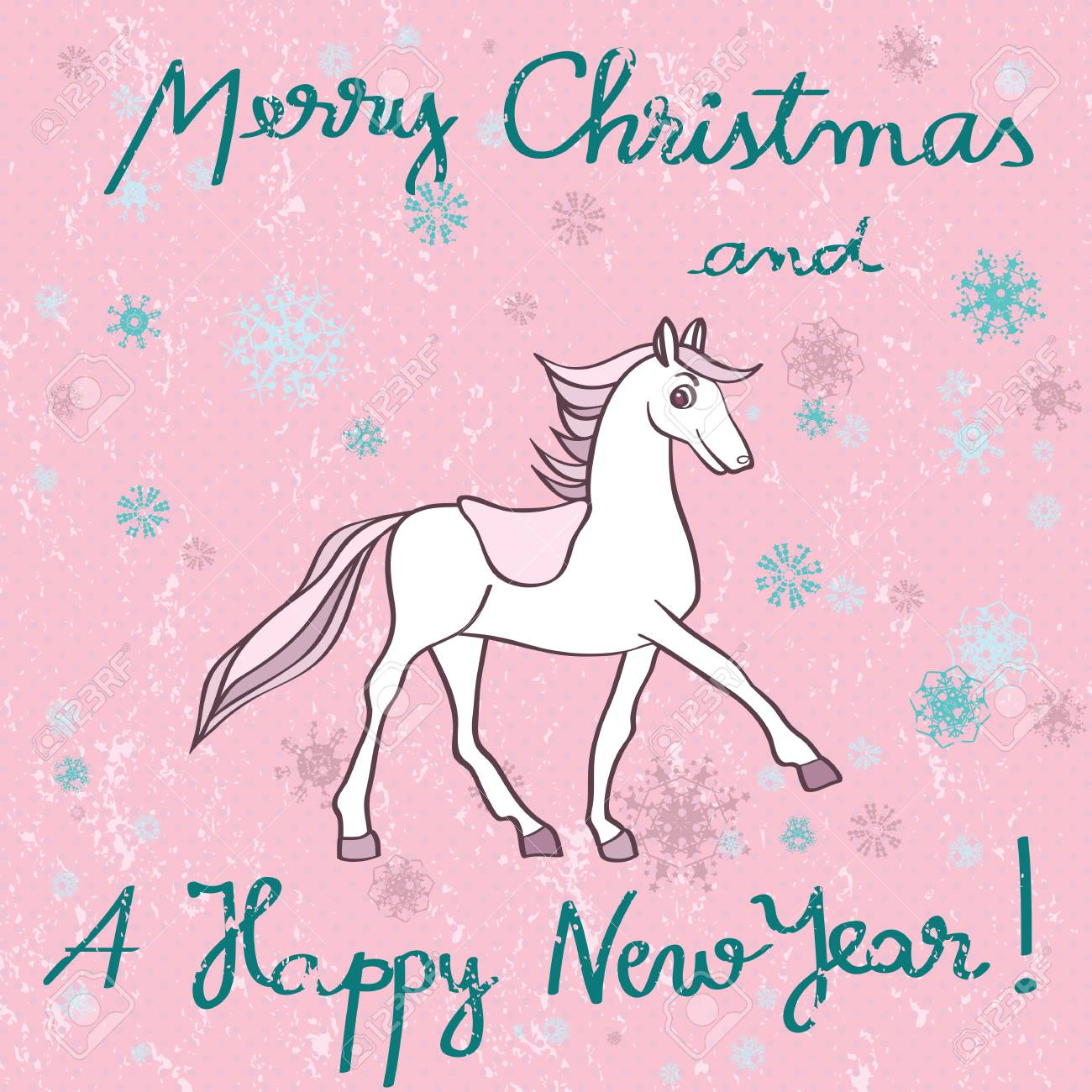 Christmas Horse Cartoon.Christmas And New Year S Greetings Card With Horse Cartoon Over