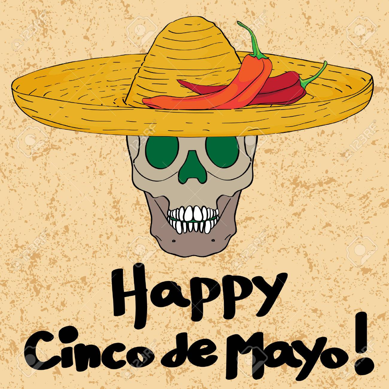 Cinco de mayo hand drawn cartoon illustration of a greeting card cinco de mayo hand drawn cartoon illustration of a greeting card with a funny skull with m4hsunfo