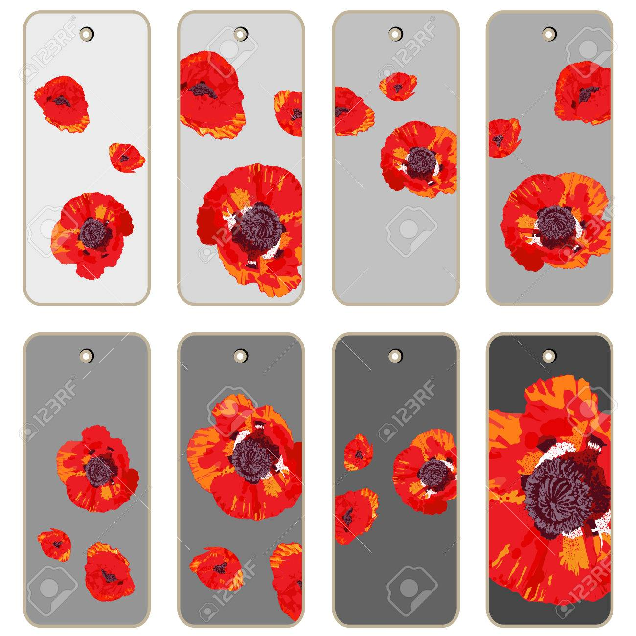 Price Tags Collection With Poppy Flowers Hand Drawn Cartoon