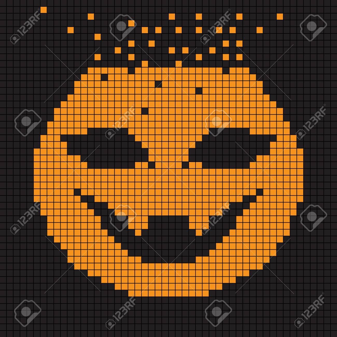 Carte De Voeux Halloween Illustration De Pixel Dune Composition De Tableau De Bord Avec Dessin Numérique Dune Tête De Citrouille