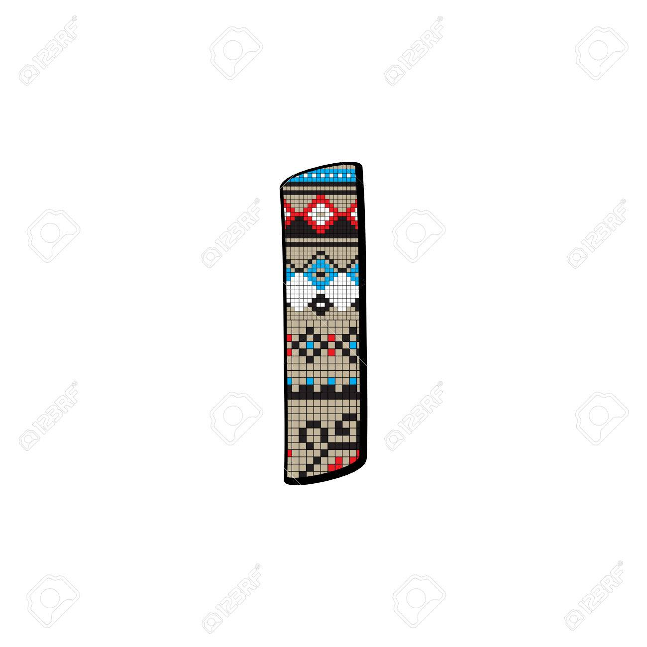 Decorated Original Font Pixel Art Ethnic Model Inspired By A Balkan Motif Over A Funny Fat Small Letter Isolated On White