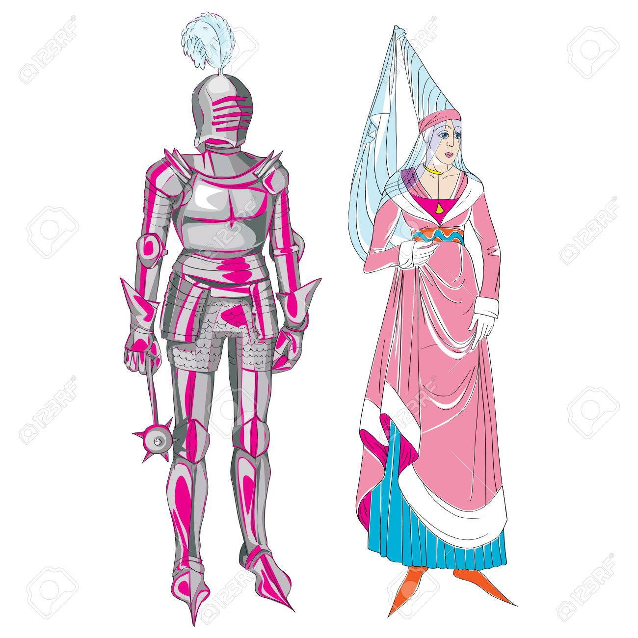 Fictional outfits inspired by medieval costumes hand drawn cartoon illustrations isolated on white Stock Vector  sc 1 st  123RF.com & Fictional Outfits Inspired By Medieval Costumes Hand Drawn Cartoon ...