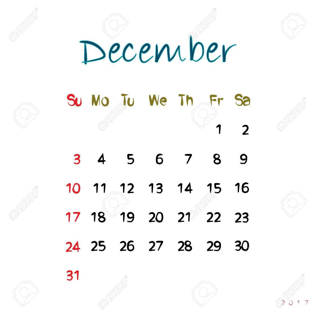 白元の手書きテキストと 17 年 12 月カレンダー ページのイラスト素材 ベクタ Image