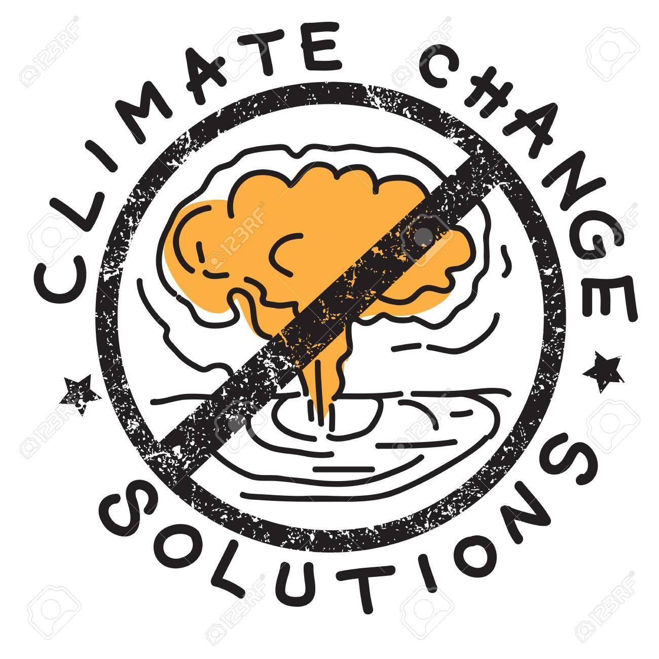 Climate Change Solution Illustration Hand Drawn Sticker Isolated