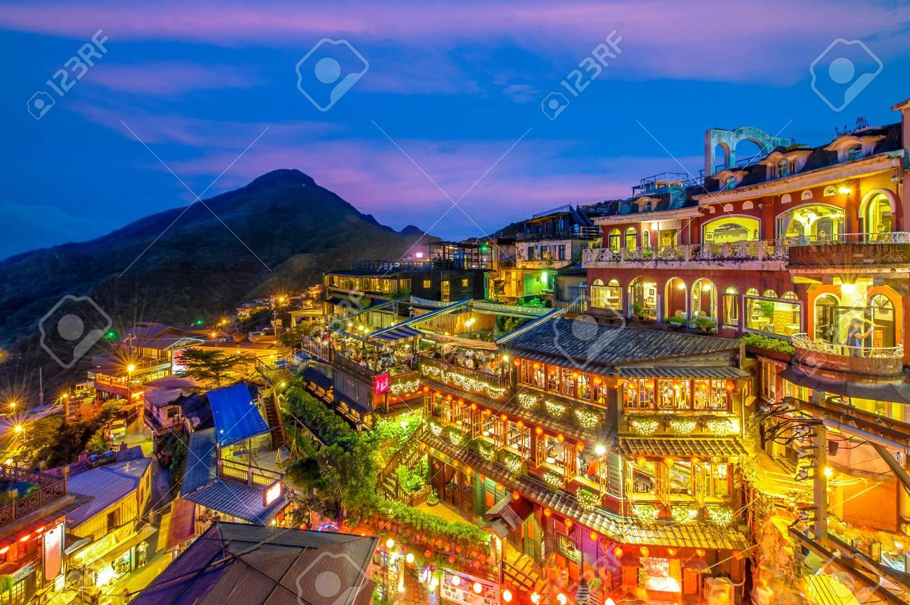 night scene of Jioufen village, Taipei, Taiwan - 121183202