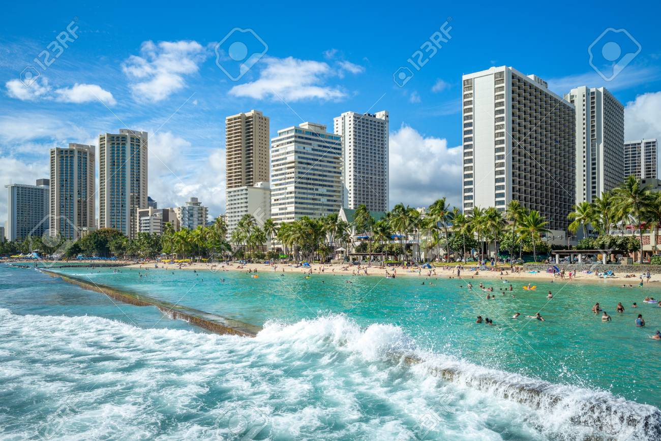Skyline Of Honolulu At Waikiki Beach Hawaii Us