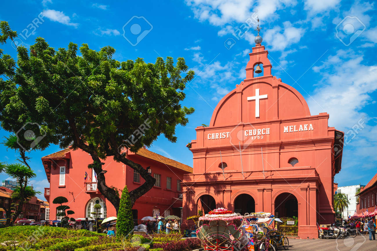August 12, 2018: Stadthuys and Melaka Red Clock Tower, aka Tang Beng Swee Clock Tower, located at Dutch Square in, Melaka, Malacca, Malaysia. Stadthuys was built in 1650 and clock tower was in 1886. - 168221882