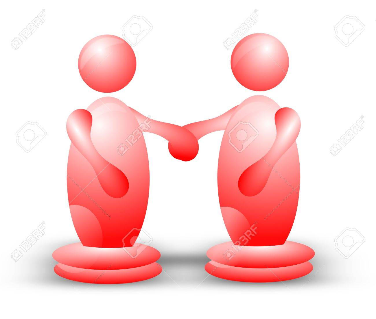 Two spherical 3D characters standing side by side and holding hands Stock Photo - 16478995