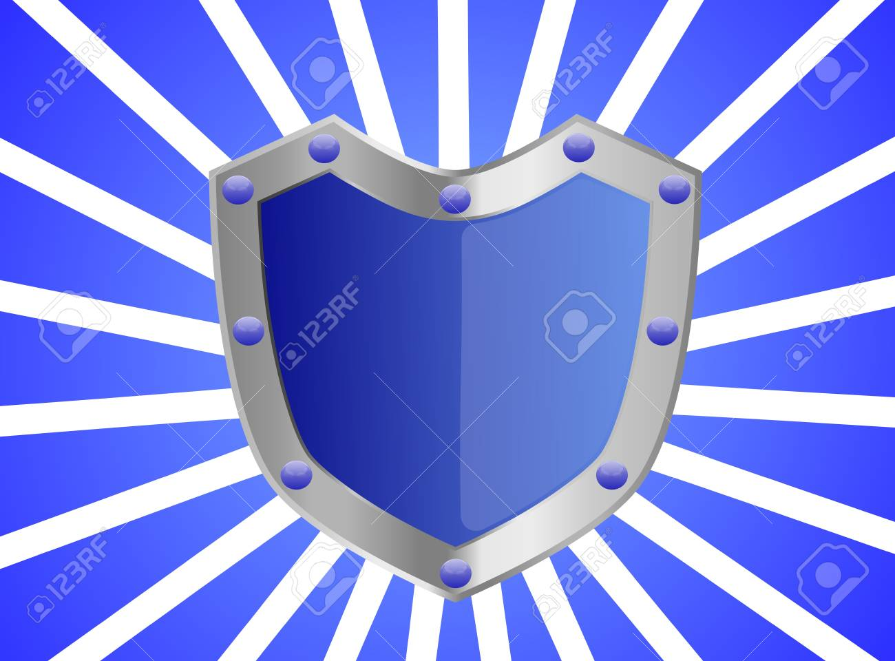 A blue studded shield with silver frame background Stock Photo - 17045672