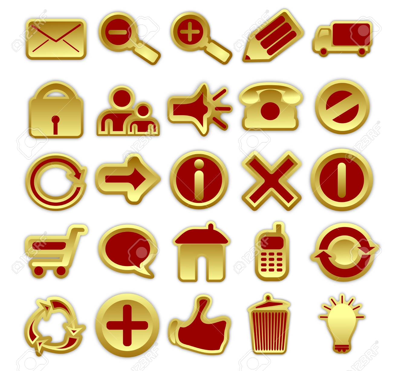 A collection of 25 web icons in golden and red color scheme Stock Photo - 17048828
