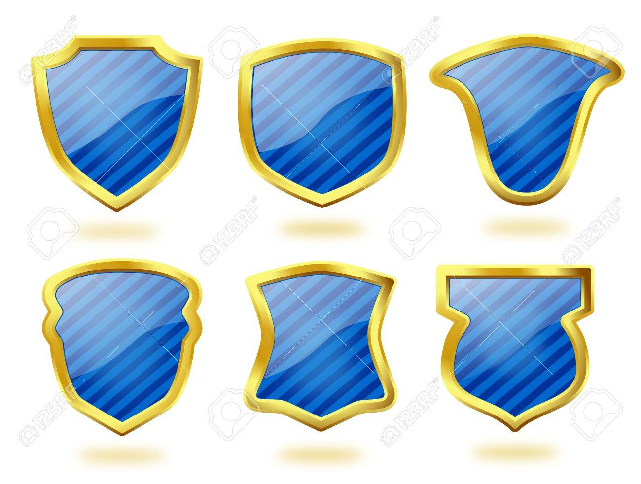 A collection of six shield icon badges in blue stripes and with golden frames Stock Photo - 17093668