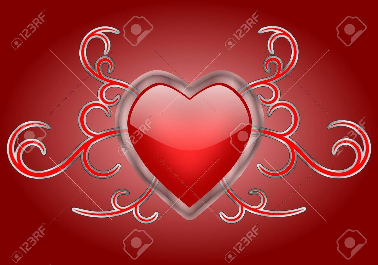 Un Corazón Rojo Brillante Con Un Marco De Cristal Transparente Sobre ...